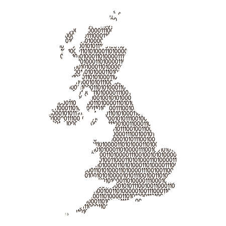 United Kingdom map abstract schematic from black ones and zeros binary digital code. Vector illustration.