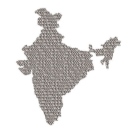 India map abstract schematic from black ones and zeros binary digital code. Vector illustration.