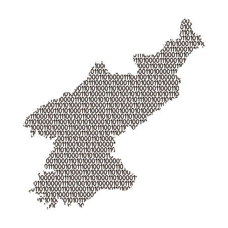 North Korea map abstract schematic from black ones and zeros binary digital code. Vector illustration.