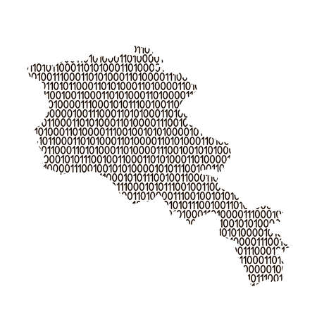 Armenia map abstract schematic from black ones and zeros binary digital code. Vector illustration.
