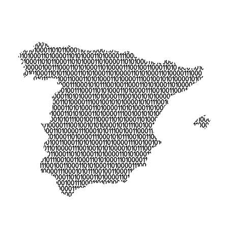 Spain map abstract schematic from black ones and zeros binary digital code. Vector illustration.