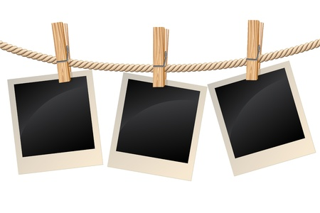 Illustration for Photos hanging on a clothesline - Royalty Free Image