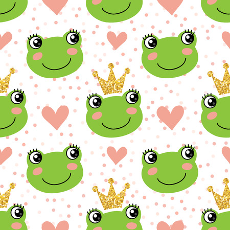 Illustration for Seamless pattern with cute frogs and crowns - Royalty Free Image