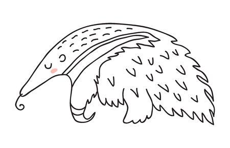 Illustration pour Isolated cute cartoon sleeping anteater vector illustration - image libre de droit