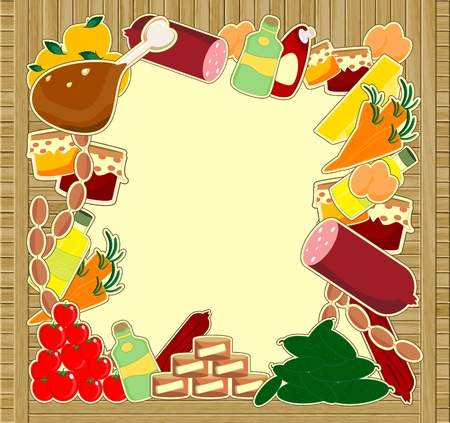 food frame - meal on wooden background
