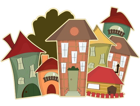 Illustration for retro houses isolated on white background - Royalty Free Image