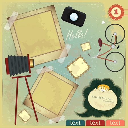 Ilustración de Vintage card - scrapbook elements on grunge background - Imagen libre de derechos