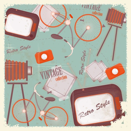 Abstract vintage background - retro items and cards