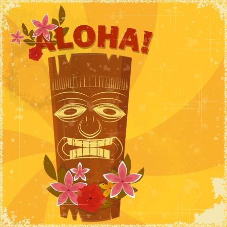 Illustration pour Vintage Hawaiian postcard - invitation to Beach party - vector illustration - image libre de droit