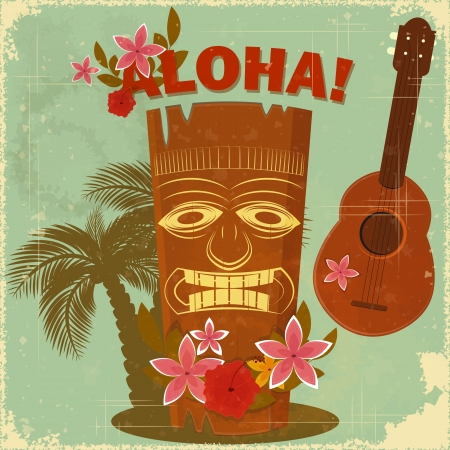 Photo for Vintage Hawaiian postcard - invitation to Beach party  - Royalty Free Image