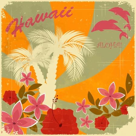 Illustration pour Vintage Hawaiian postcard - invitation to Beach party - image libre de droit