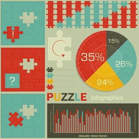 elements of Puzzle for Infographics - charts and graphs for presentations