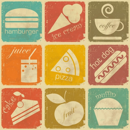 set of Vintage Food Labels - Retro Signs with Grunge Effect