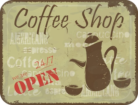 Grunge retro Vintage card - coffee Menu cover, sign pattern for coffee shop - coffee pot and cups