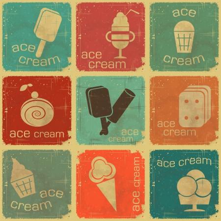 Ice Cream Vintage set labels