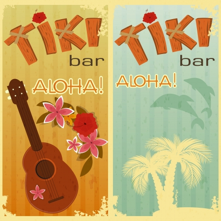 retro cards for Tiki bars, Hawaiian party, two postcards in vintage style with hand drawn text Aloha and Tiki