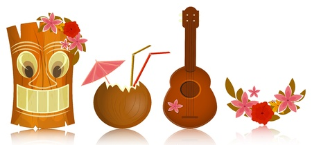 Illustration pour Hawaiian icons - tiki, ukulele, hibiscus on white background - vector illustration - image libre de droit