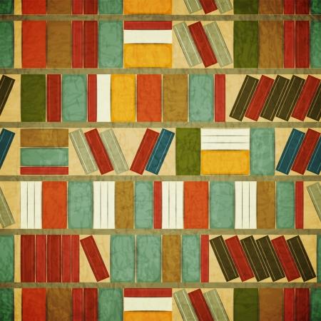 Ilustración de Vintage Seamless  Book Background - Bookcase Background - Grunge style - Imagen libre de derechos