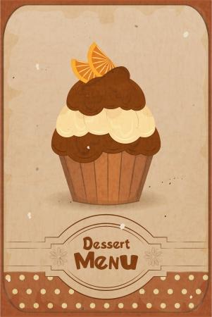 Foto de Vintage dessert menu - a muffin with orange on retro background - vector - Imagen libre de derechos