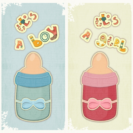 Illustration for Set of Birthday Card for Boy and Girl. Baby milk bottle on vintage background.  - Royalty Free Image