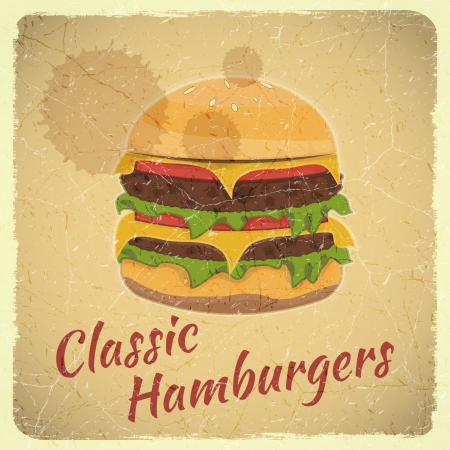 Grunge Cover for Fast Food Menu - Hamburger on Retro Background