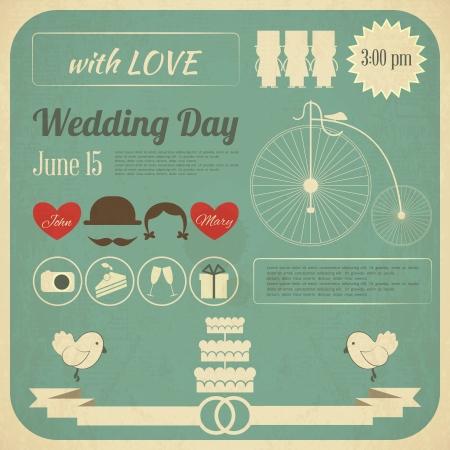 Foto de Wedding Invitation Card in Retro Infographics Style. Vintage Design, Square Format.  Illustration. - Imagen libre de derechos