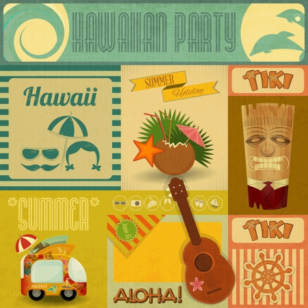 Illustration pour Hawaii Vintage Card. Set of stickers for Hawaiian Party in Retro Style. Vector Illustration. - image libre de droit
