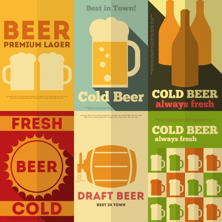 Beer Retro Posters Collection in Flat Design Style. Vector Illustration.