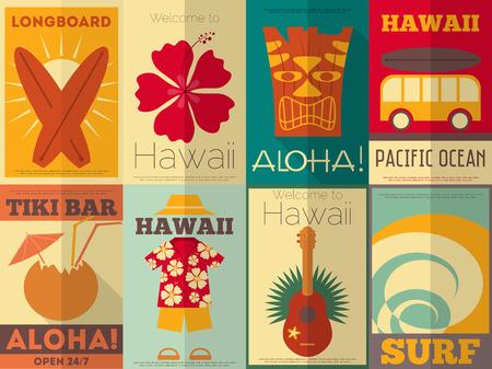Illustration pour Hawaii Surf Retro Posters Collection in Flat Design Style. Vector Illustration. - image libre de droit