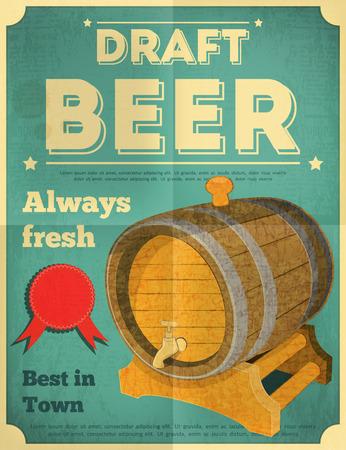 Draft Beer Retro Poster in Vintage Design Style. Beer Barrel. Vector Illustration.
