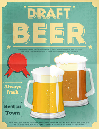 Beer Retro Poster Vintage Design Style. Vector Illustration.