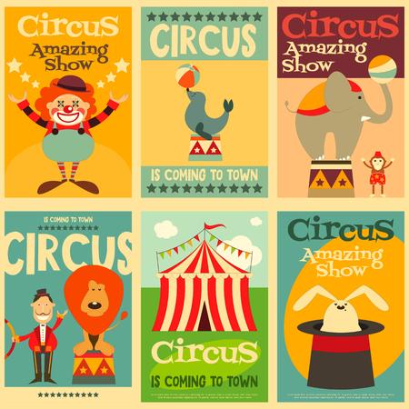 Illustration pour Circus Entertainment Posters Retro Set. Cartoon Style. Circus Animals and Characters. Illustration. - image libre de droit