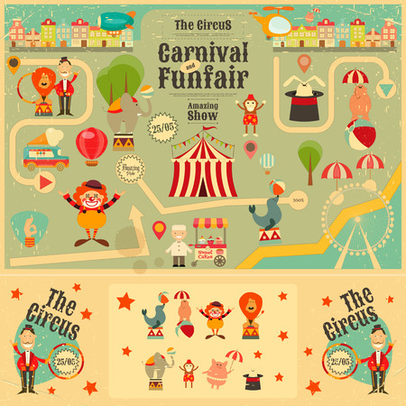 Illustration pour Circus Funfair and Carnival Poster in Vintage Style. Cartoon Style. Circus Animals and Characters. Illustration. - image libre de droit
