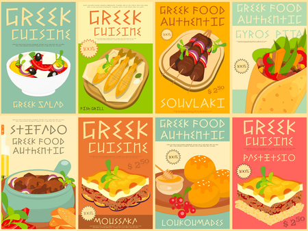 Vektor für Greek Food Menu Card with Traditional Meal. Greek Cuisine. Food Collection.  Greek Food Posters Set. Vector Illustration. - Lizenzfreies Bild