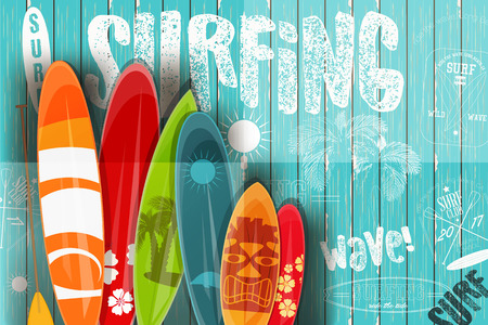 Vektor für Surfing Poster in Vintage Style for Surf Club or Shop. Surfboards with Different Designs and Sizes on Blue Wooden Background. Vector Illustration. - Lizenzfreies Bild