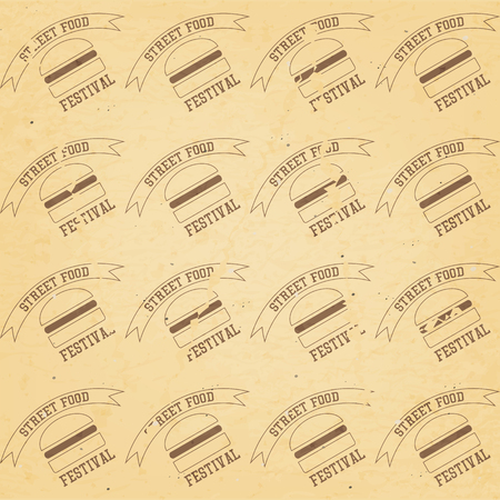 ?raft Recycled Paper Texture. Seamless Craft Packaging with Burgers - Emblem Street Food Festival. Vector Illustration.