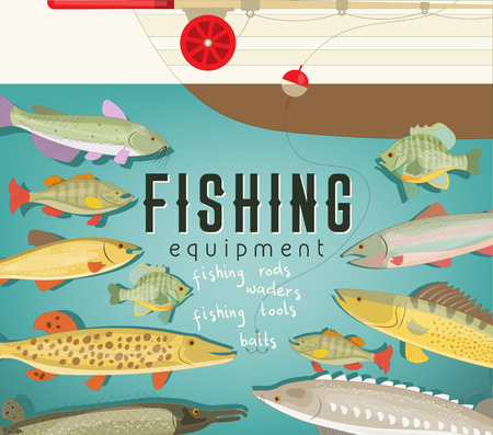 Fishing Equipment Poster with Boat, Freshwater Fish and Rod. Vector Illustration.