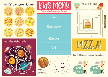 Illustration pour Kids menu template. Placemat for cafe, pizzeria. Set of kids puzzles. Vector illustration. - image libre de droit