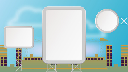 Set of Empty City Billboards in Town. Cityscape with White Blank Banners in the Daytime. Vector Mockup for Business Promotion and Advertisement.
