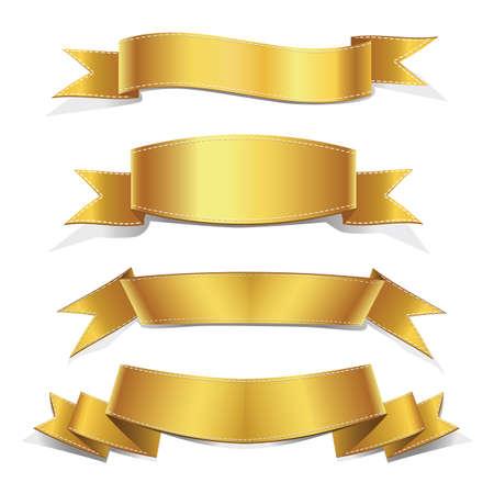 Illustration pour Realistic Gold Vector Ribbons Set ,  banner, with stitch detailing for your design project - image libre de droit