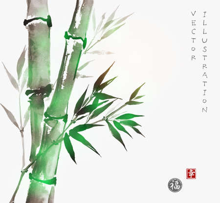Illustration pour Card with green bamboo in sumi-e style. Hand-drawn with ink. Traditional Japanese painting. Sealed with hieroglyphs -  luck and happiness - image libre de droit