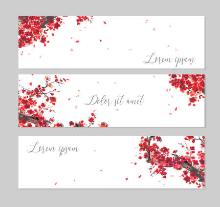 Illustration pour Three banners with Oriental cherry blossoming branch and falling sakura petals. Traditional oriental ink painting sumi-e, u-sin, go-hua on white background - image libre de droit