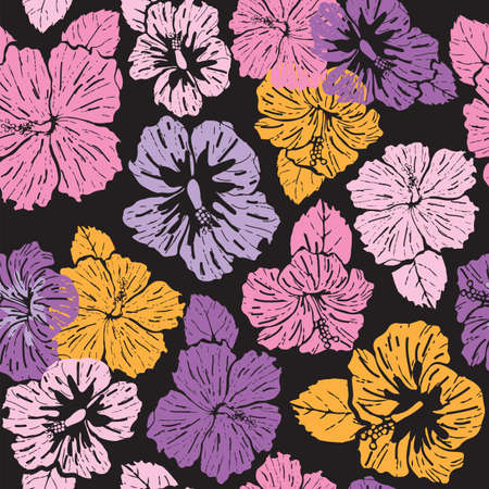 Illustration for Seamless pattern colorful abstract hibiscus on black background - Royalty Free Image
