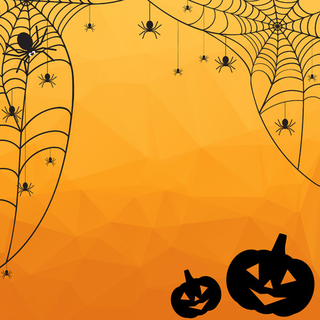 Halloween Background. Vector Halloween orange polygonal mosaic  backgroun with spiderweb, spiders and pumpkins