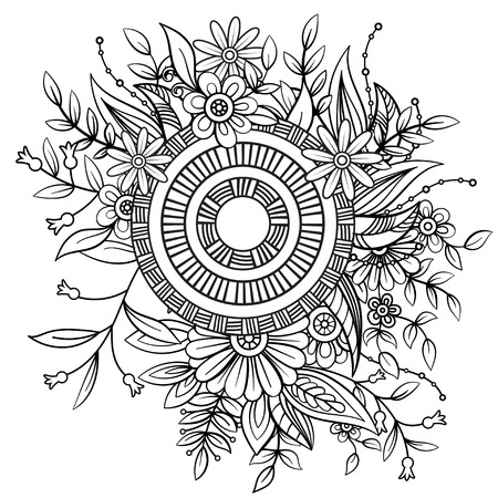 Illustration pour Floral pattern in black and white. Adult coloring book page with flowers and mandala. Art therapy, anti stress coloring page. Hand drawn vector illustration - image libre de droit