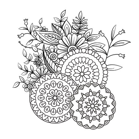 Ilustración de Adult coloring book page with flowers and mandalas. Floral pattern in black and white. Art therapy, anti stress coloring page. Hand drawn vector illustration - Imagen libre de derechos