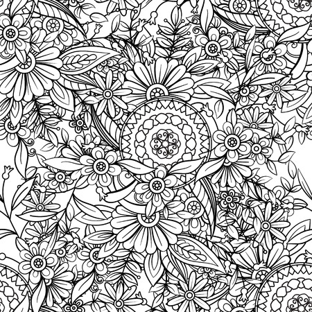 Illustration for Floral seamless pattern in black and white. Adult coloring book page with flowers and mandalas. Hand drawn vector illustration. Doodles background - Royalty Free Image