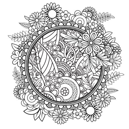 Illustration pour Adult coloring page with flowers pattern. Black and white doodle wreath. Floral mandala. Bouquet line art vector illustration isolated on white background. Round design element - image libre de droit