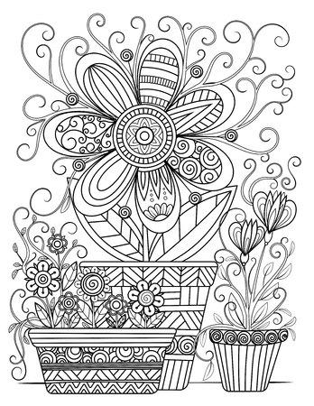 Ilustración de Floral adult coloring page. Black and white doodle flowers. Flower pots line art vector illustration isolated on white background. - Imagen libre de derechos