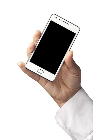 Woman hand holding an smartphone isolated on white background